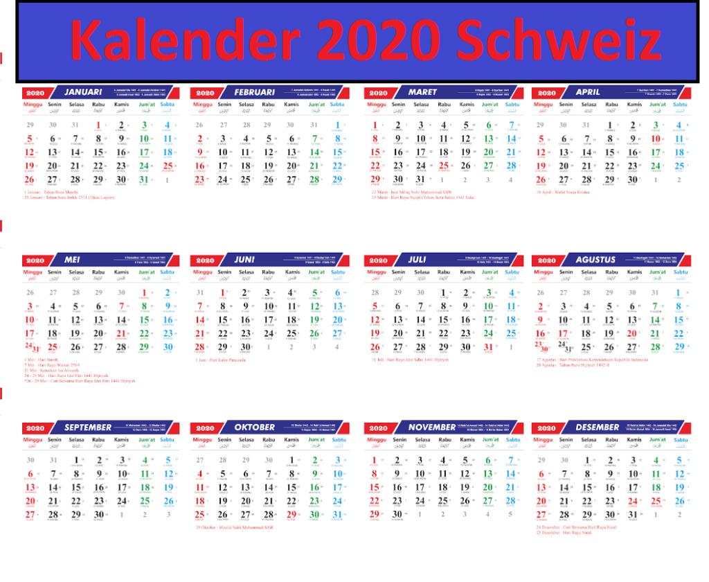 2020 Jahreskalender SchweizMit Feiertagen
