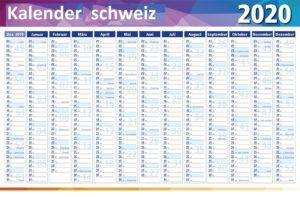 2020 Jahreskalender Schweiz Word