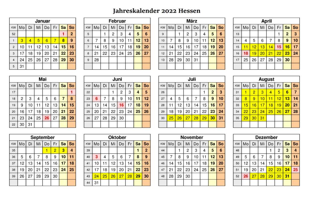 2022 Jahreskalender Hessen Schulferien