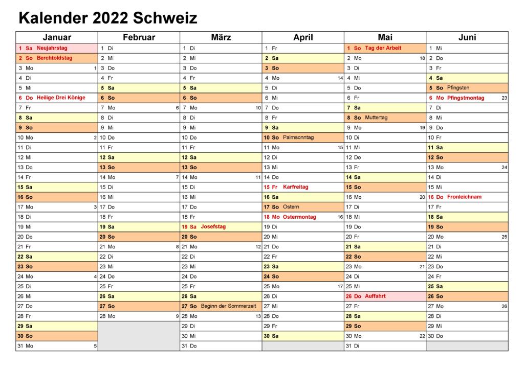 2022 Jahreskalender Schweiz PDF
