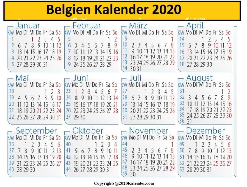 Belgien 2020 Kalender Zum Ausdrucken
