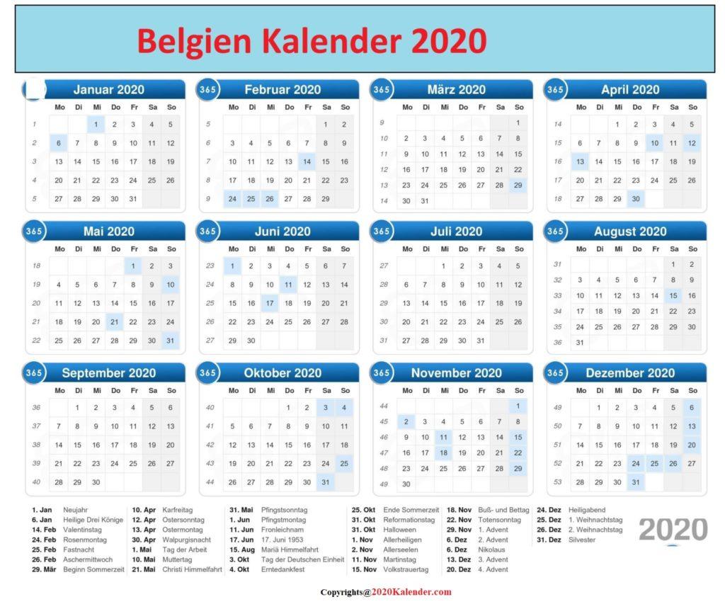 Belgien 2020 Kalender Excel