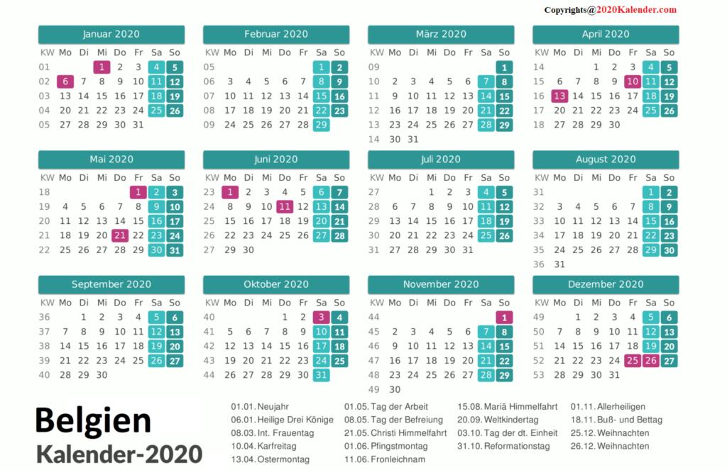 Belgien 2020 Kalender MitFeiertagen