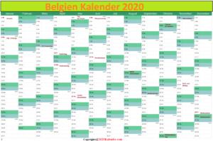 2020 Belgien Kalender PDF