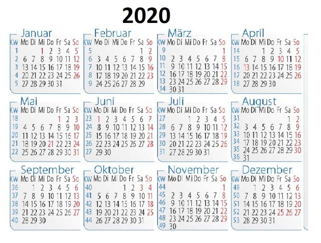 Deutschland 2020 Kalender
