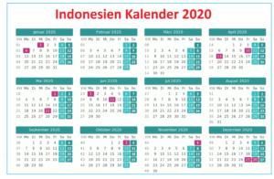 Druckbare IndonesienKalender2020