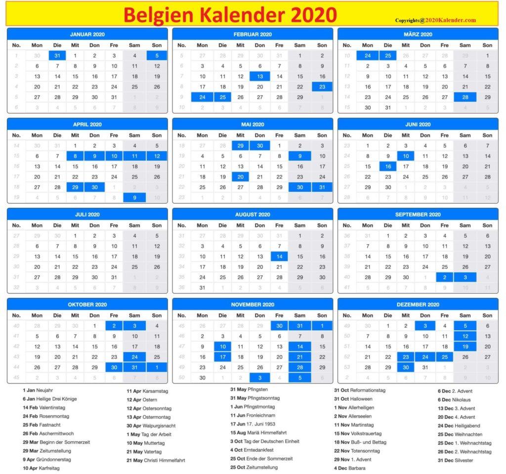 Kalender 2020 Belgien Feiertage