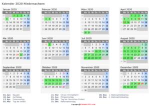 Feiertagen 2020 Niedersachsen