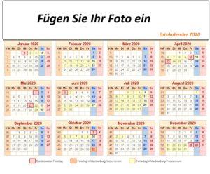 Fotokalender2020 VorlageMit Ferien