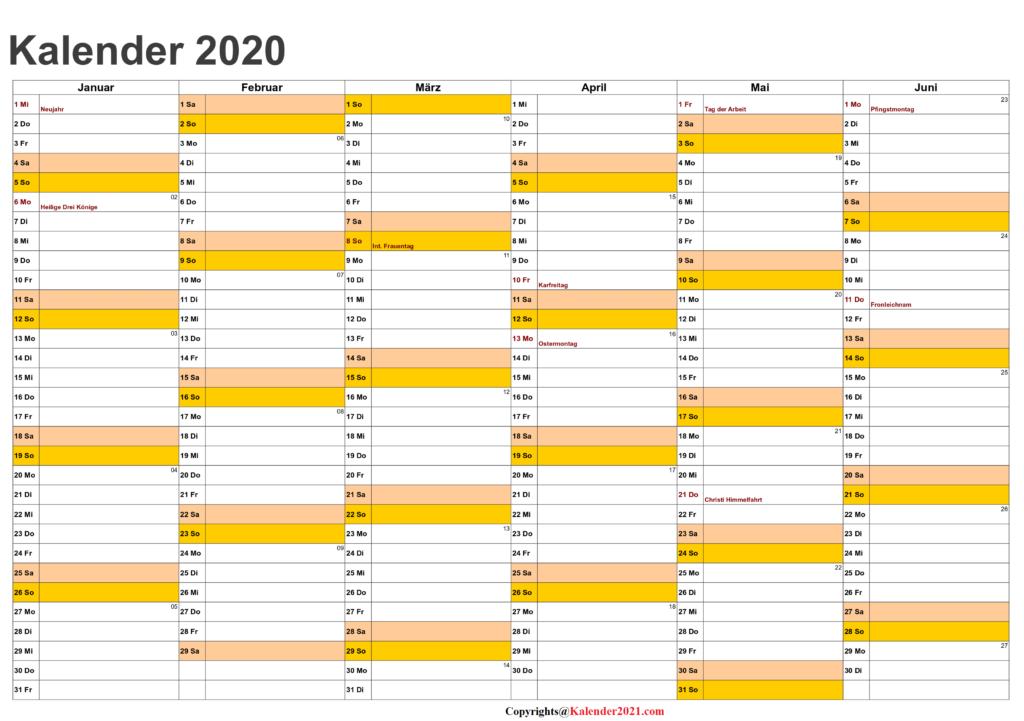 Halbjahreskalender2020 Excel