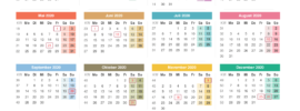 Halbjahreskalender 2020 Mit Feiertagen