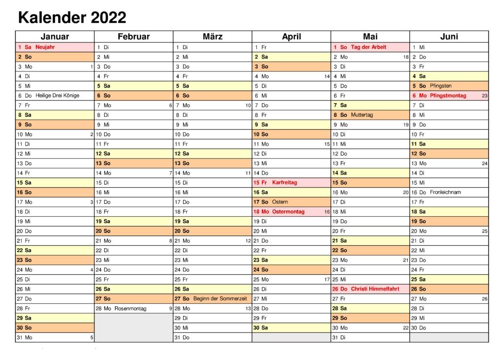 Halbjahreskalender 2022 Excel