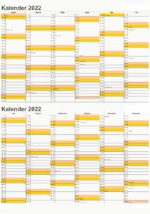 Halbjahreskalender 2022 Mit Feiertagen