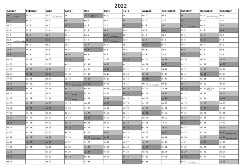 Halbjahreskalender 2022 Zum Ausdrucken MitFerien