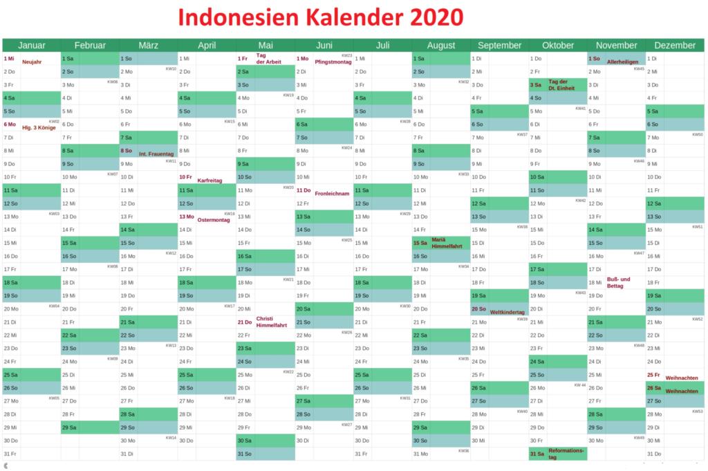 2020 Indonesien Kalender Excel
