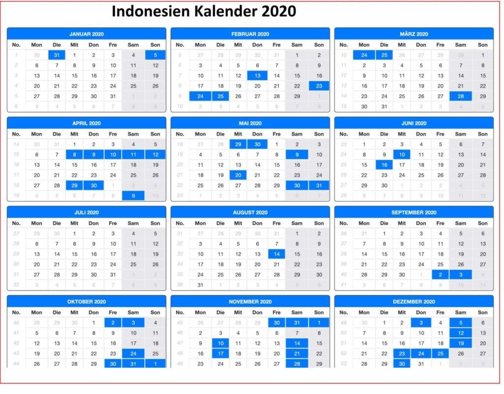 Indonesien 2020 Kalender MitFeiertagen