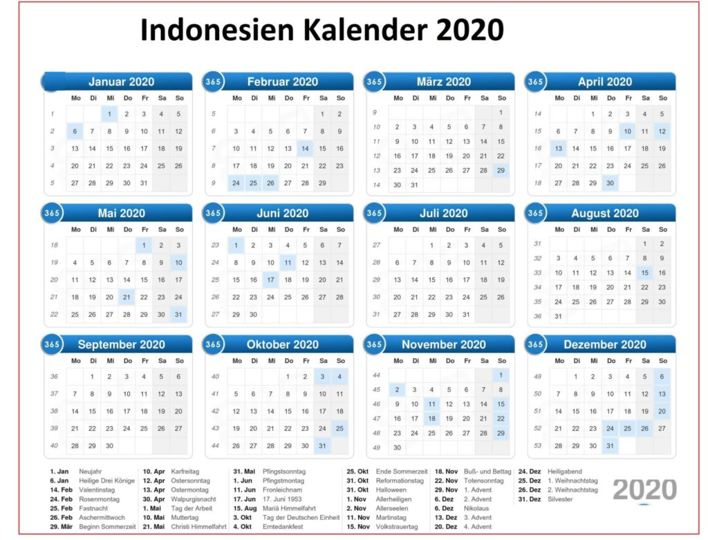 Indonesien 2020 Kalender PDF