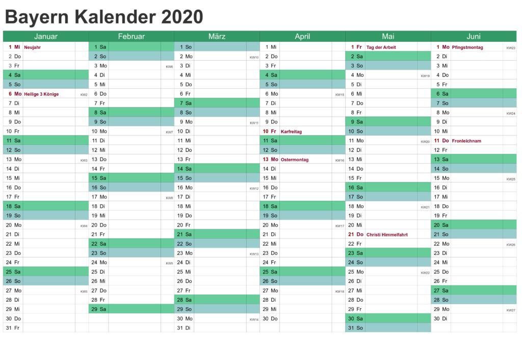 Jahreskalender2020 BayernMitFeiertagen
