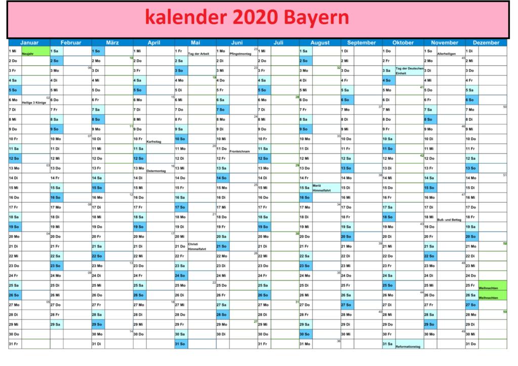 Jahreskalender2020 BayernMitFerien und Feiertagen