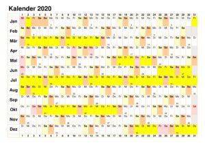 Jahreskalender 2020 Excel