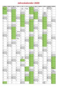 Jahreskalender2020 Excel Vorlage