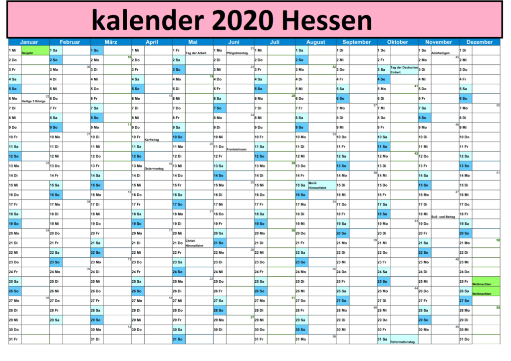 Jahreskalender 2020 Hessen Excel