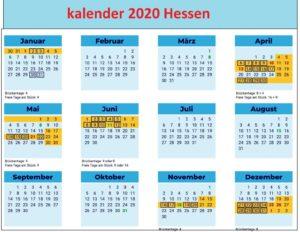 Jahreskalender 2020 HessenFerien