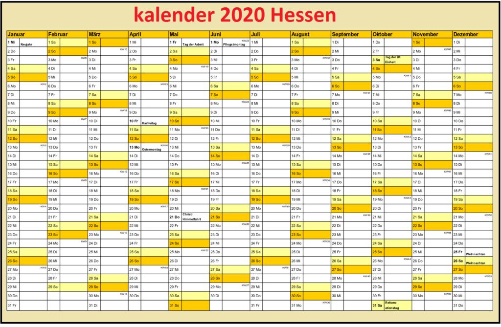 2020 JahreskalenderHessen Mit Feiertagen