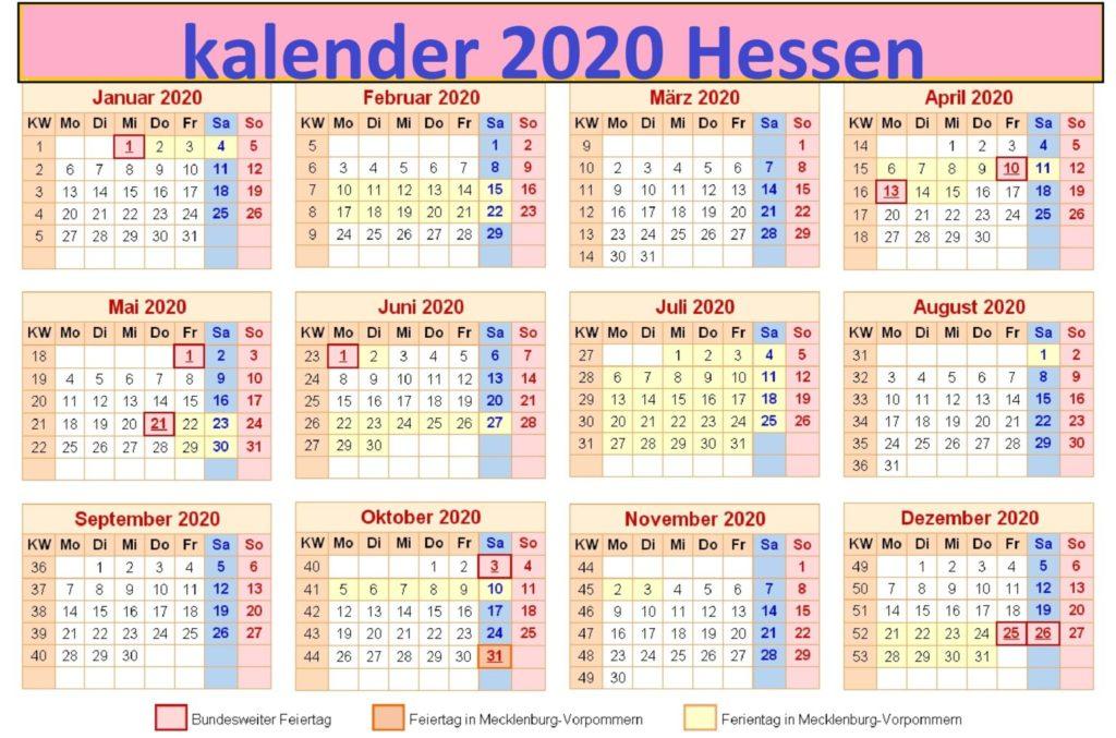 2020 Jahreskalender Hessen Schulferien
