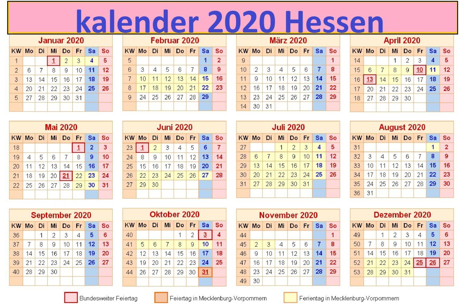 2020 Druckbare Jahreskalender Hessen [PDF, Excel, Word ...
