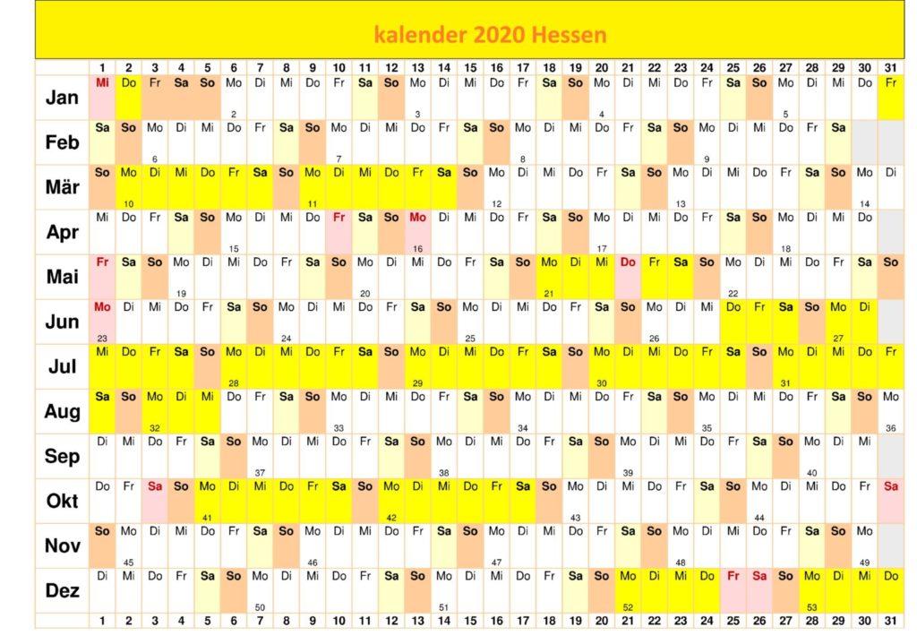 Jahreskalender 2020 Hessen Zum Ausdrucken