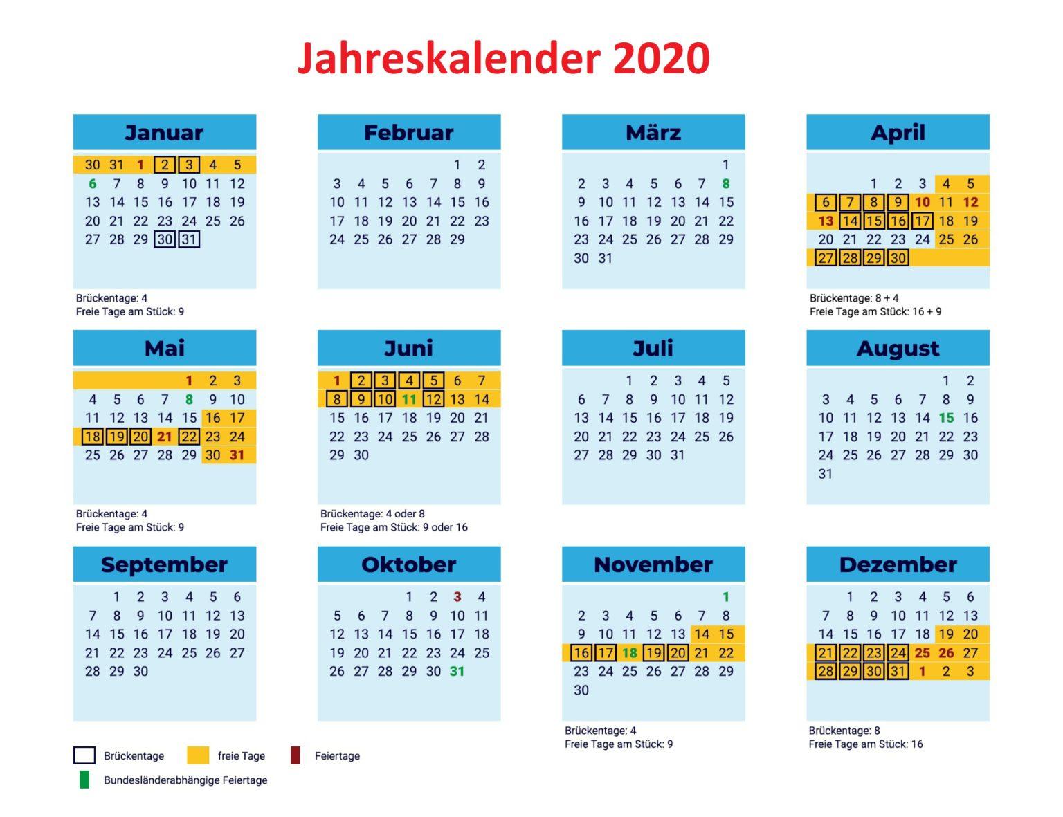 Jahreskalender2020MitFeiertagen