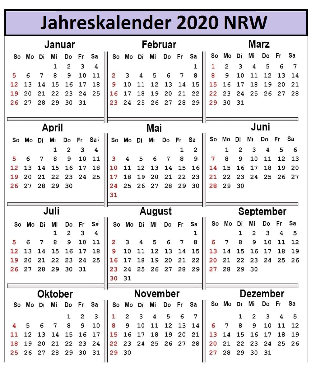 Jahreskalender 2020 NRW Excel