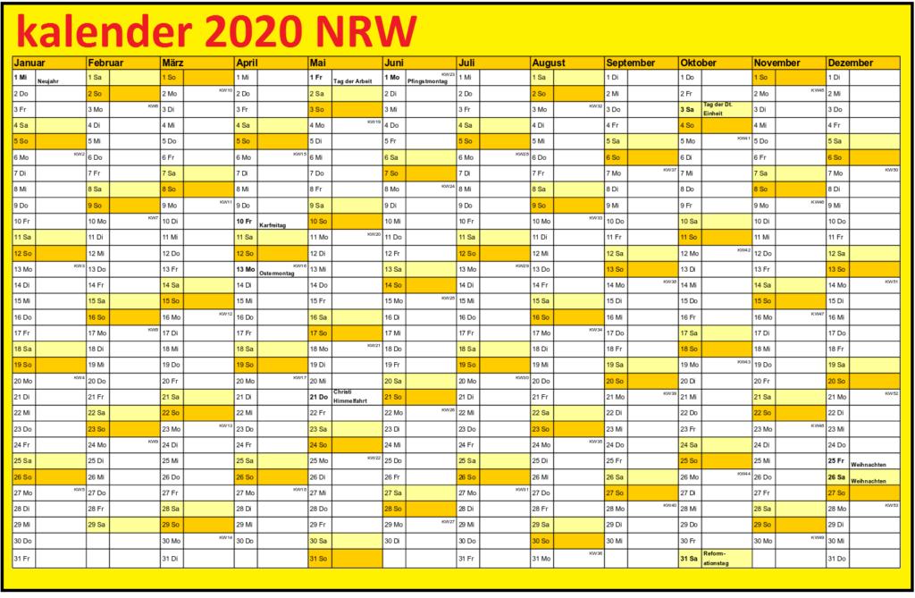 Jahreskalender2020 NRWFiertagen