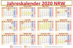 Jahreskalender 2020 NRW Schulferien