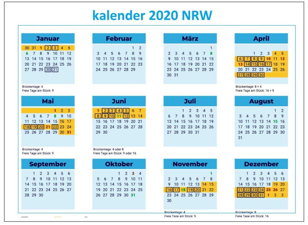 Jahreskalender 2020 NRW Zum Ausdrucken