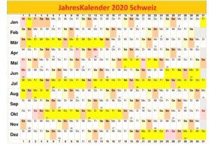 Jahreskalender 2020 Schweiz Excel