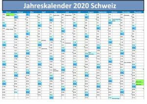 2020 Jahreskalender Schweiz PDF