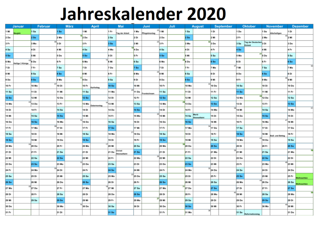 Jahreskalender2020 Schweiz Zum Ausdrucken