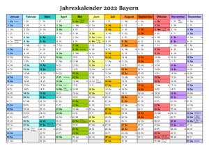 Jahreskalender 2022 Bayern MitFeiertagen