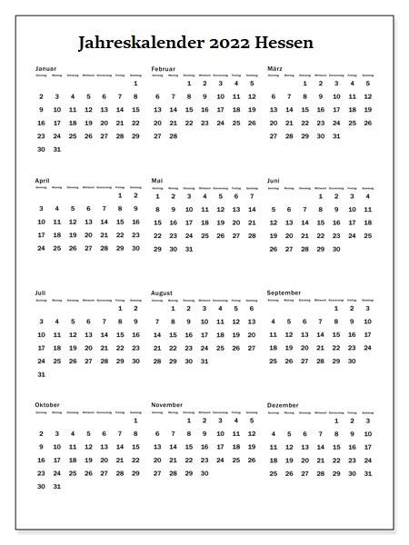 Jahreskalender 2022 Hessen Ferien