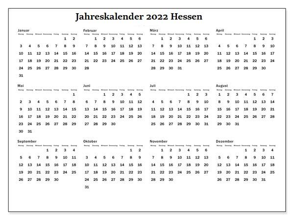 Jahreskalender 2022 Hessen Zum Ausdrucken