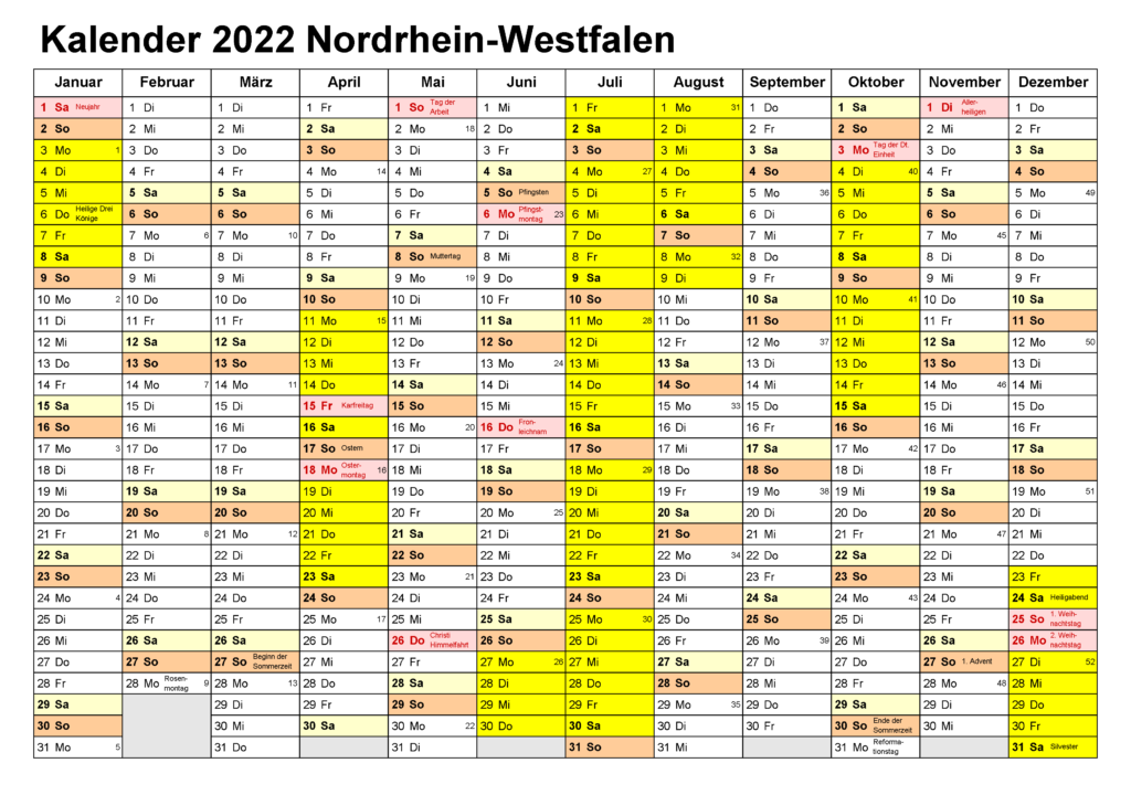 Jahreskalender 2022 NRW Excel