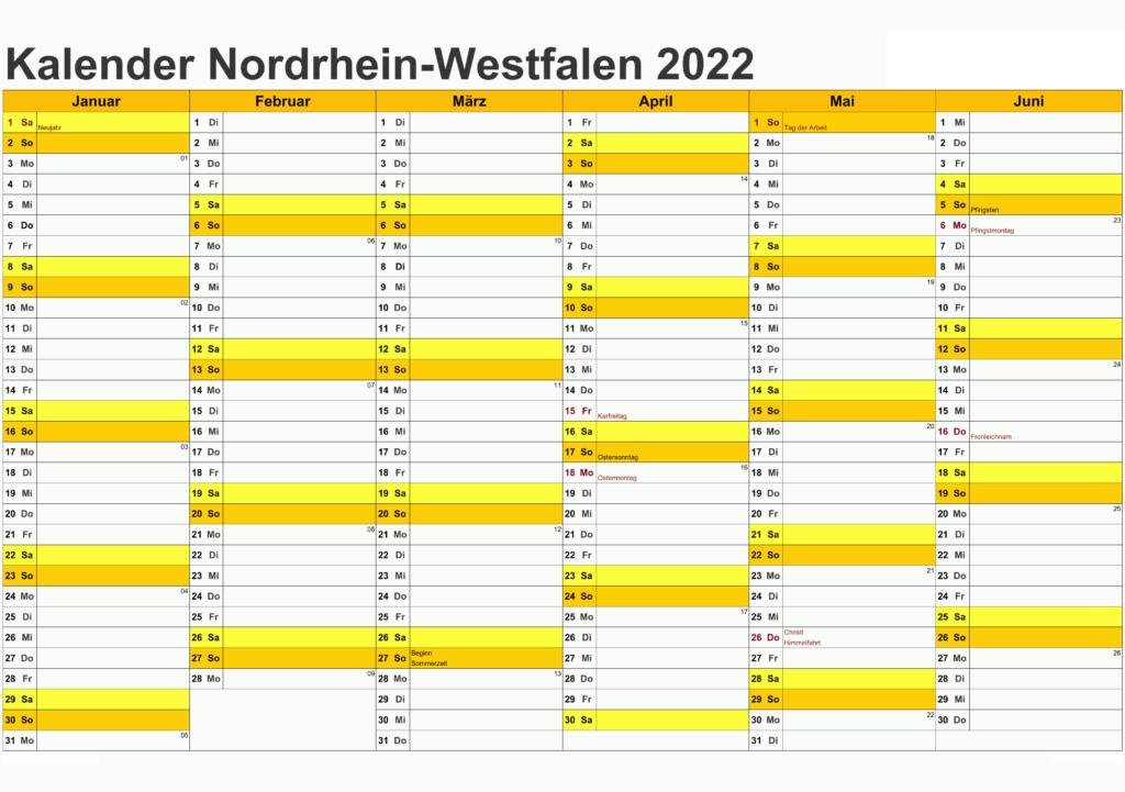 Jahreskalender 2022 NRW Ferien