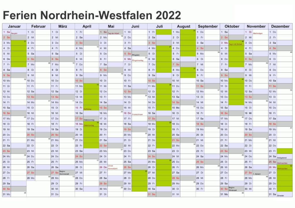 Jahreskalender 2022 NRW Fiertagen