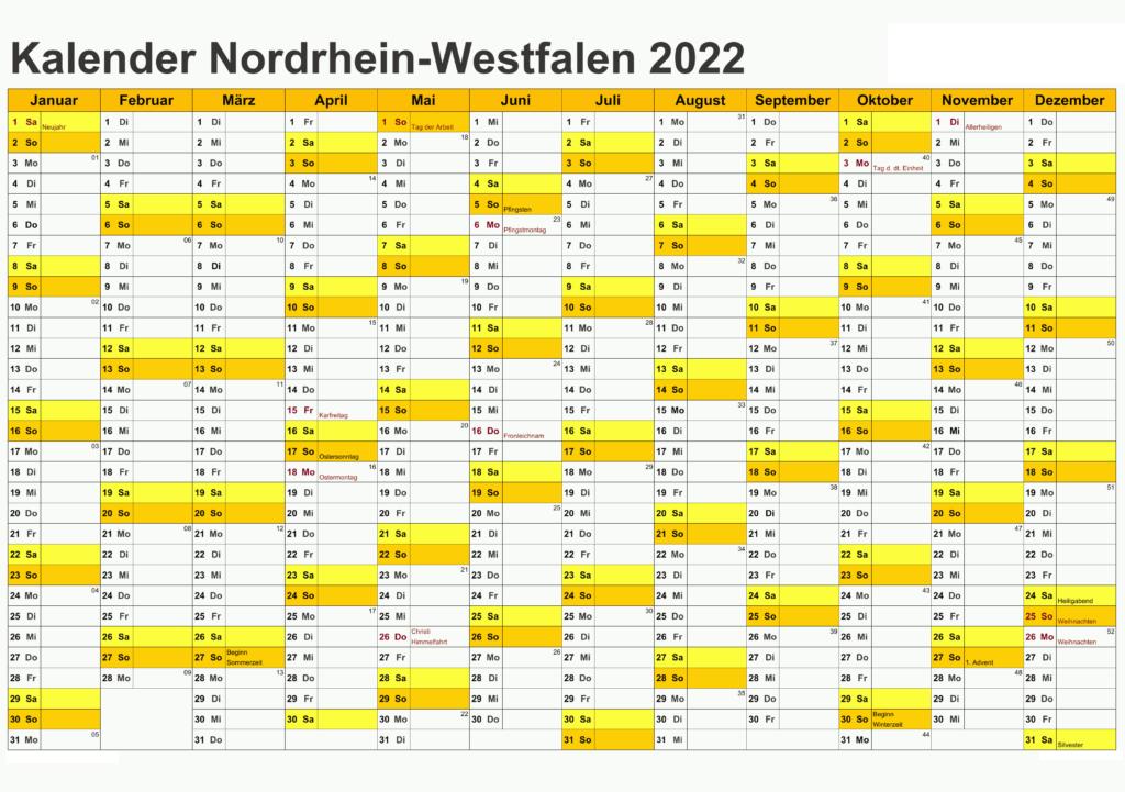 Jahreskalender 2022 NRW Zum Ausdrucken