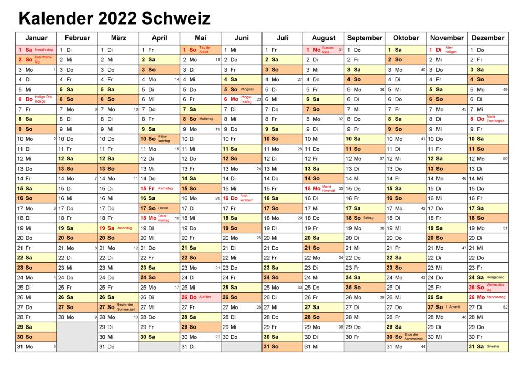 Jahreskalender 2022 Schweiz Excel