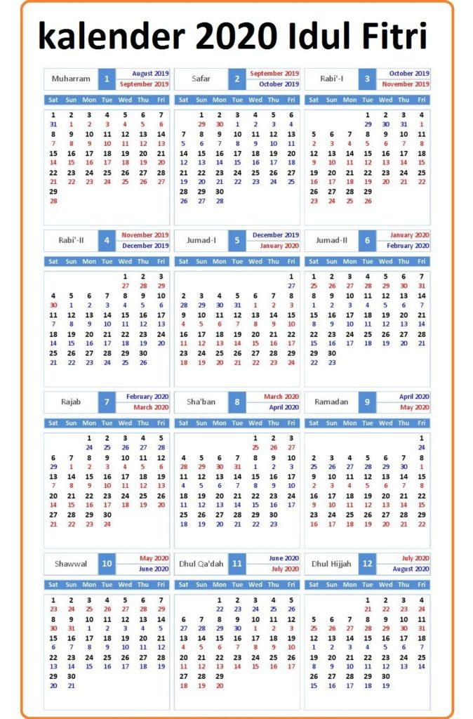 2020 Idul Fitri Mai Kalender