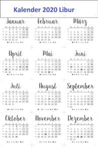 Kalender 2020 IndonesischeFeiertage
