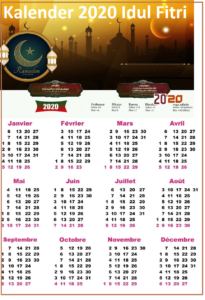 2020 Kalender Lengkap Idul Fitri